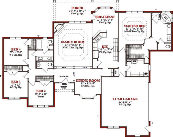 Traditional Floor Plan - Main Floor Plan Plan #63-207