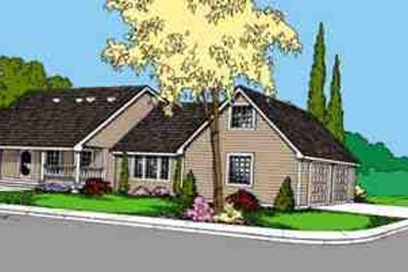 Southern Exterior - Front Elevation Plan #60-614