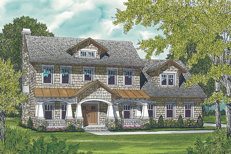 Dream House Plan - Craftsman Exterior - Front Elevation Plan #453-7