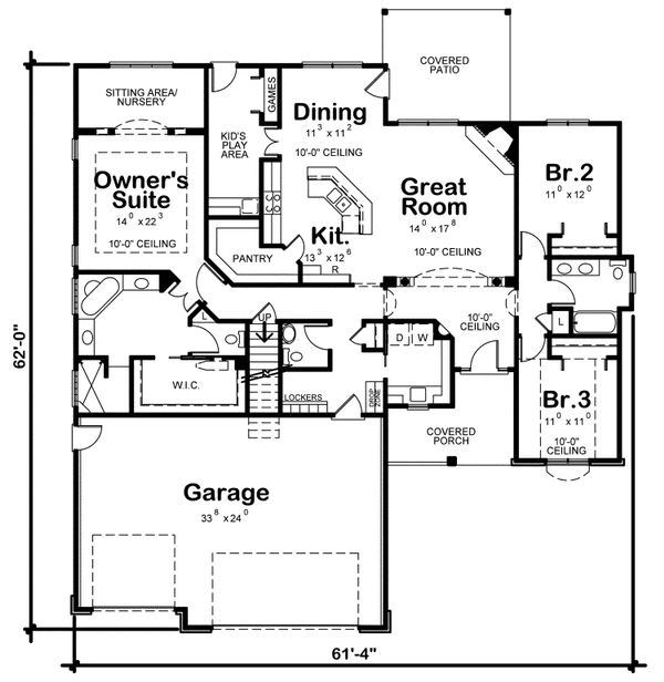 Traditional Floor Plan - Main Floor Plan Plan #20-2078