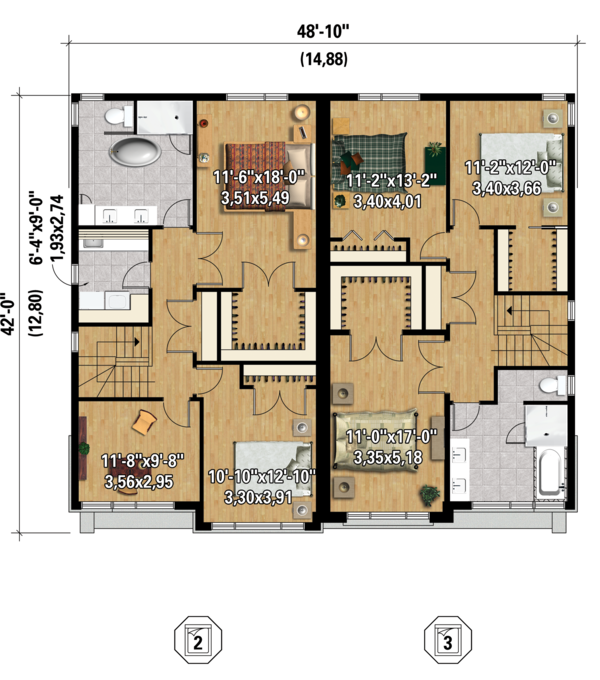 Contemporary Floor Plan - Upper Floor Plan Plan #25-4396
