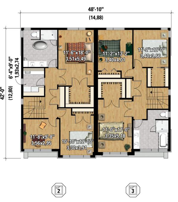 Contemporary Floor Plan - Upper Floor Plan #25-4396