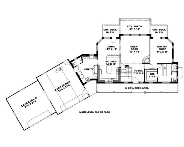 Ranch Style House Plan - 3 Beds 2.5 Baths 3385 Sq/Ft Plan #117-875 Floor Plan - Main Floor Plan