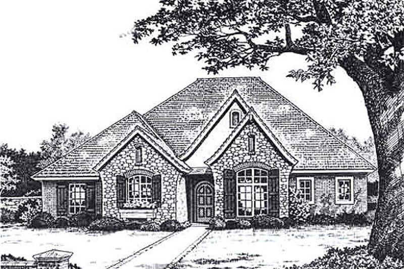 European Style House Plan - 3 Beds 2.5 Baths 2105 Sq/Ft Plan #310-925 Exterior - Front Elevation