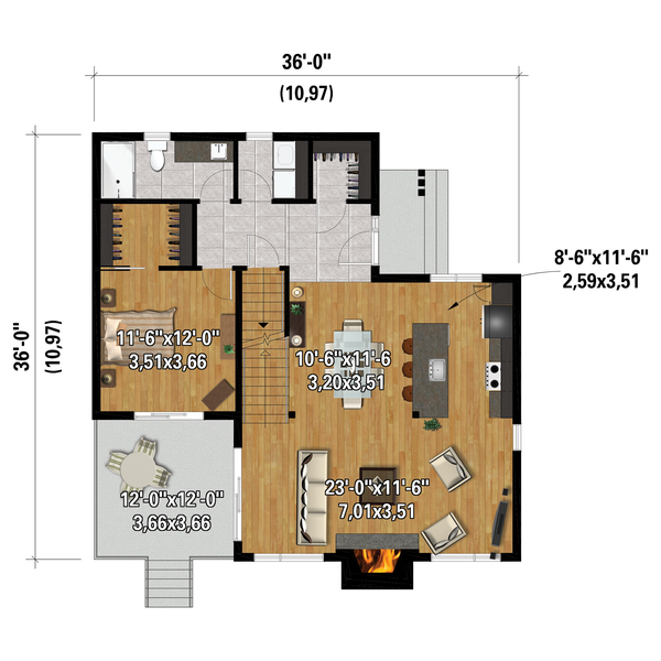 Dream House Plan - Cottage Floor Plan - Main Floor Plan #25-4923