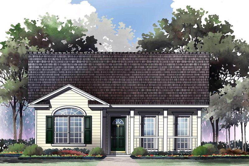 Cottage Style House Plan - 2 Beds 2 Baths 1000 Sq/Ft Plan #21-168 Exterior - Front Elevation