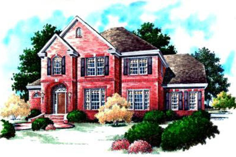 Colonial Exterior - Front Elevation Plan #37-221