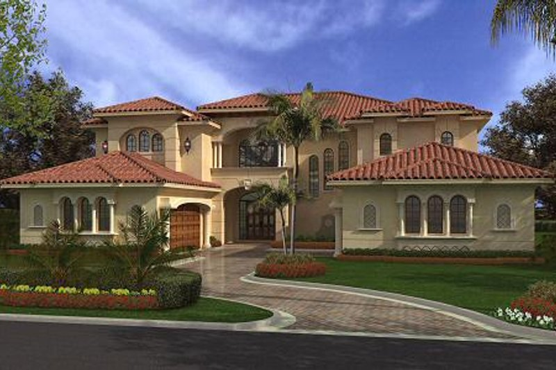 Mediterranean Style House Plan - 6 Beds 7.5 Baths 6175 Sq/Ft Plan #420-188 Exterior - Front Elevation
