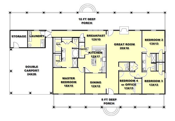 Country Style House Plan 4 Beds 2 5 Baths 2380 Sq Ft