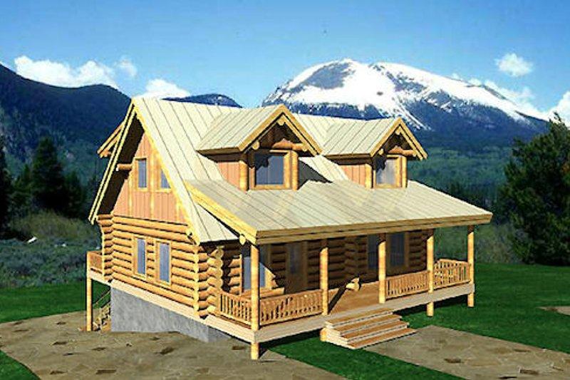 Log Exterior - Front Elevation Plan #117-122