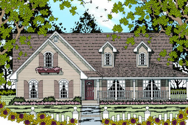 Farmhouse Style House Plan - 3 Beds 2 Baths 1865 Sq/Ft Plan #42-364 Exterior - Front Elevation