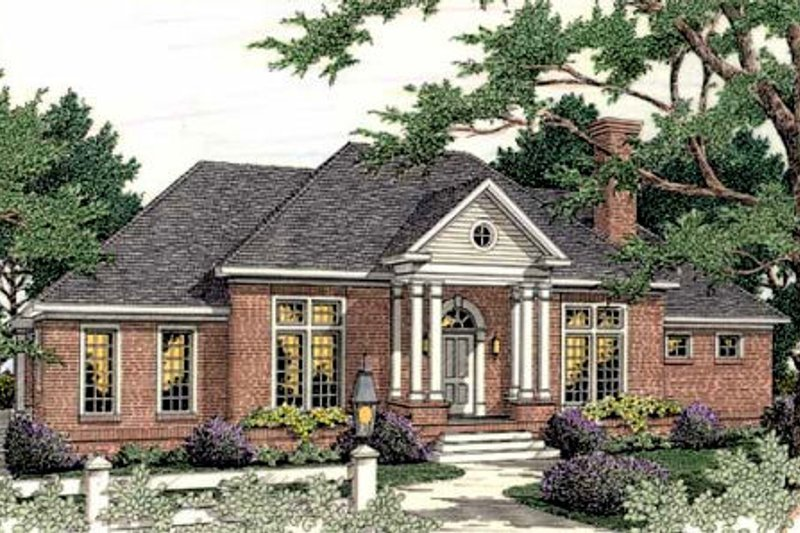 Southern Exterior - Front Elevation Plan #406-288