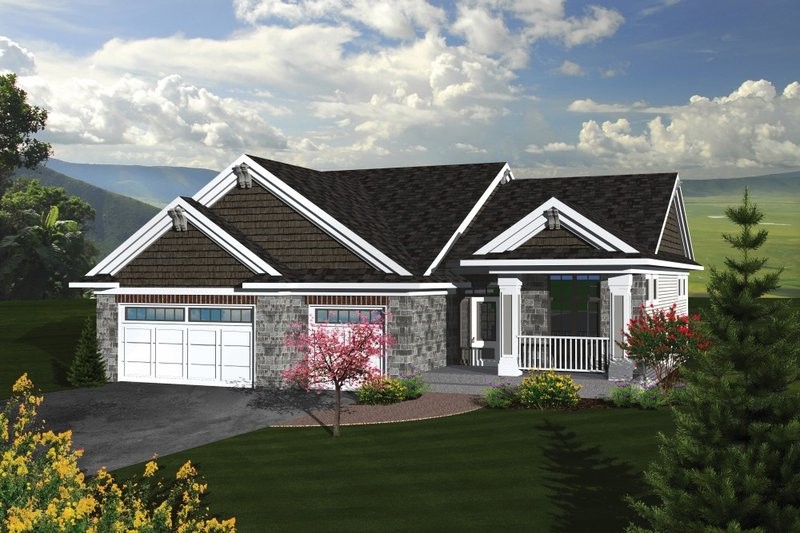 Traditional Style House Plan - 3 Beds 2 Baths 1867 Sq/Ft Plan #70-1081 Exterior - Front Elevation