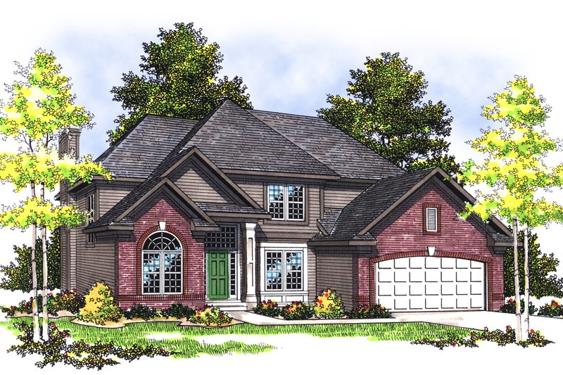Traditional Exterior - Front Elevation Plan #70-387 - Houseplans.com