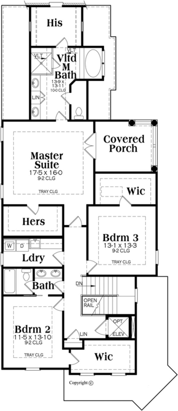 Traditional Floor Plan - Upper Floor Plan Plan #419-273