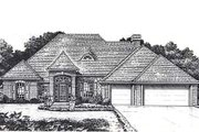 European Style House Plan - 4 Beds 3 Baths 2398 Sq/Ft Plan #310-817 Exterior - Front Elevation