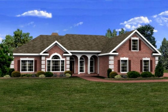 Southern Exterior - Front Elevation Plan #56-236