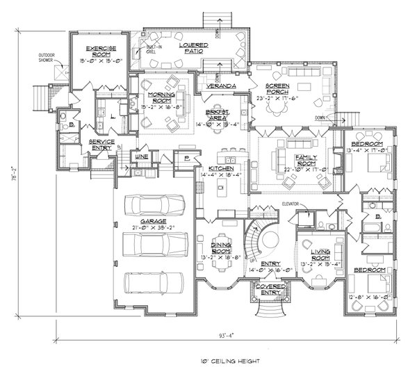 Traditional Floor Plan - Main Floor Plan Plan #1054-22