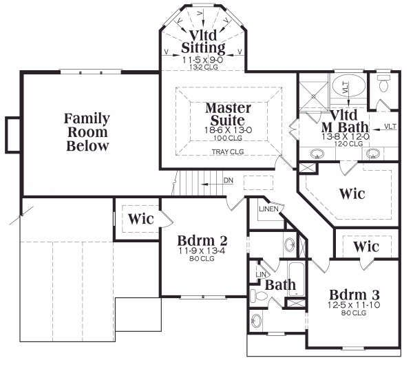 Craftsman Floor Plan - Upper Floor Plan Plan #419-165