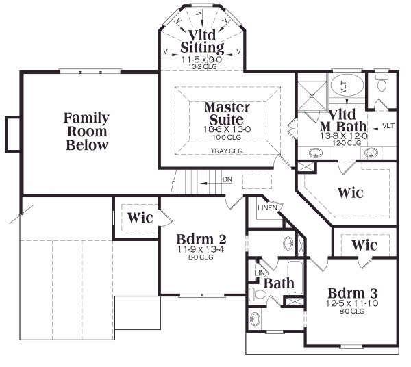 Craftsman Floor Plan - Upper Floor Plan Plan #419-165