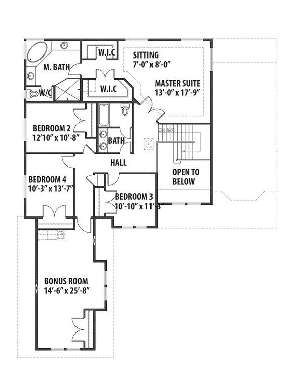 Traditional Floor Plan - Upper Floor Plan Plan #569-39
