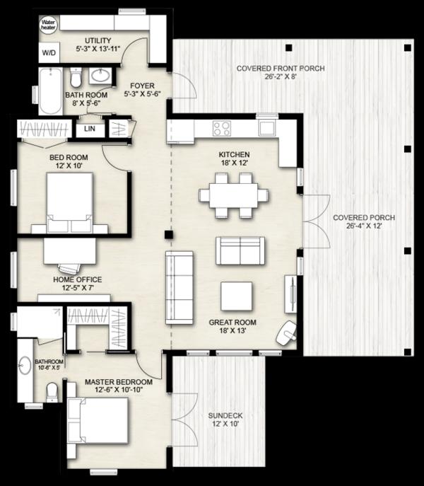 Dream House Plan - Cabin Floor Plan - Main Floor Plan #924-14