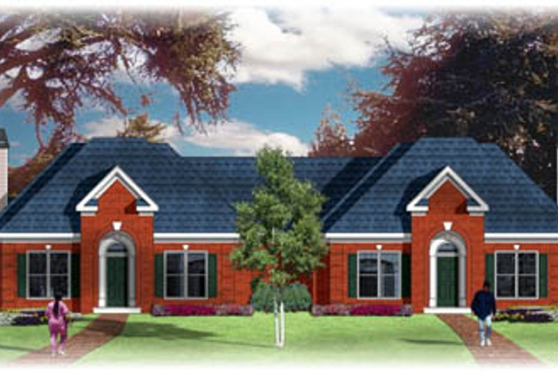 European Style House Plan - 2 Beds 2 Baths 2488 Sq/Ft Plan #26-107 Exterior - Front Elevation