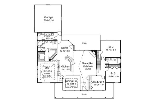 Architectural House Design - Country Floor Plan - Main Floor Plan #57-650