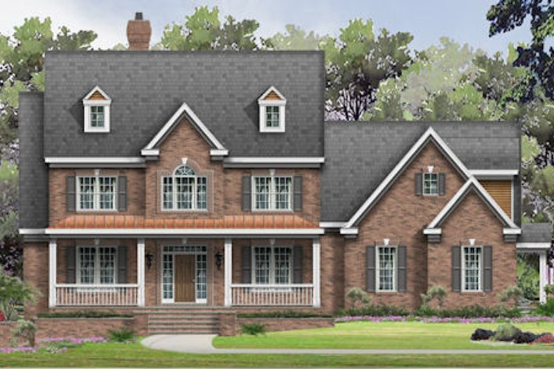 Traditional Style House Plan - 5 Beds 5.5 Baths 6017 Sq/Ft Plan #424-385 Exterior - Front Elevation