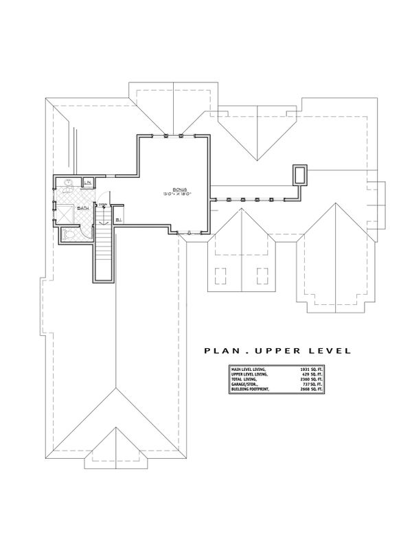 Craftsman Floor Plan - Upper Floor Plan Plan #892-13