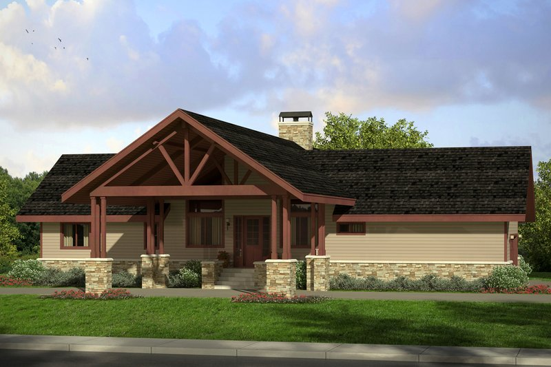 Craftsman Style House Plan - 2 Beds 2 Baths 1545 Sq/Ft Plan #124-1019 Exterior - Front Elevation