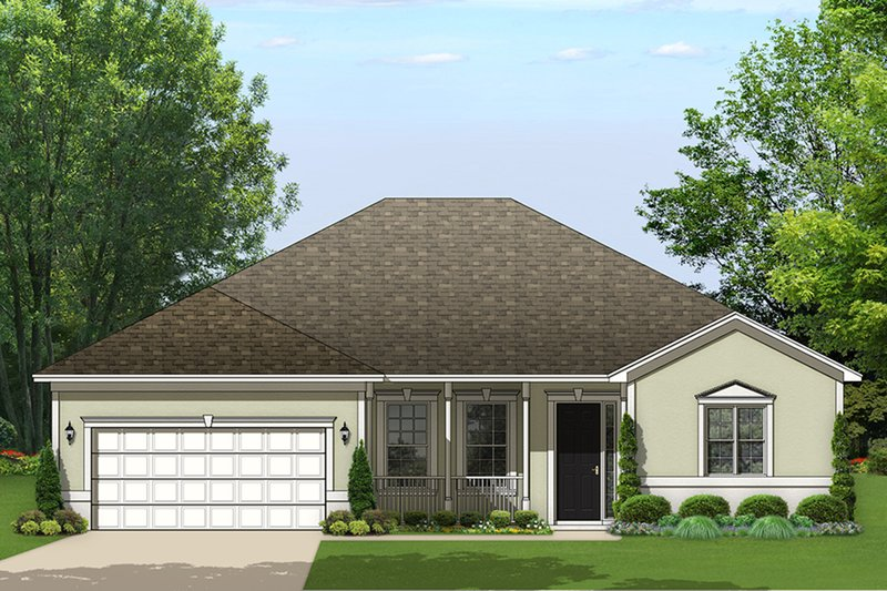 Ranch Exterior - Front Elevation Plan #1058-159
