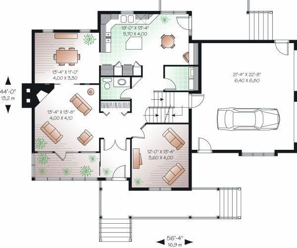 Country Floor Plan - Main Floor Plan Plan #23-745