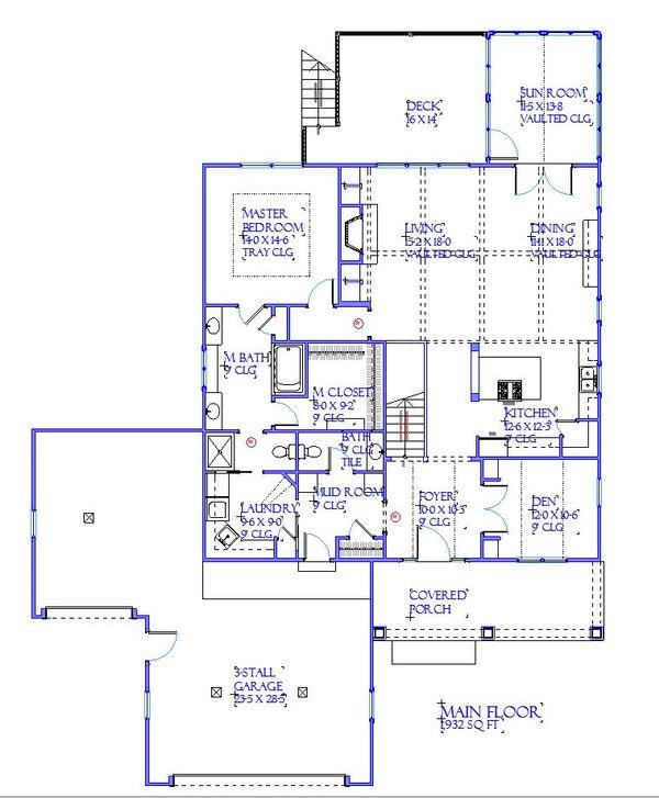 Traditional Floor Plan - Main Floor Plan Plan #901-144