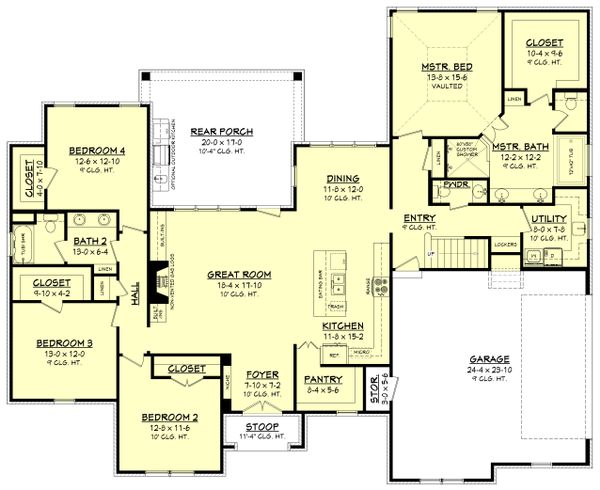 Ranch Style House Plan - 4 Beds 2.5 Baths 2404 Sq/Ft Plan #430-169 Floor Plan - Main Floor Plan
