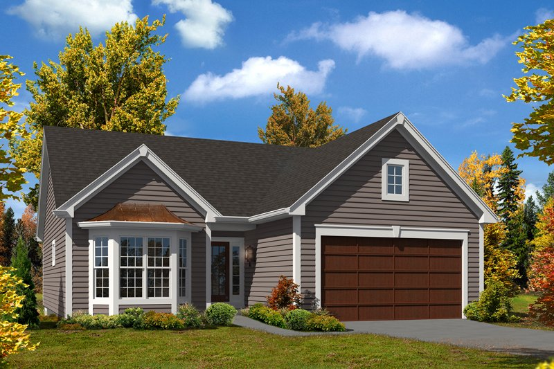 Cottage Style House Plan - 2 Beds 1 Baths 1379 Sq/Ft Plan #57-619 Exterior - Front Elevation