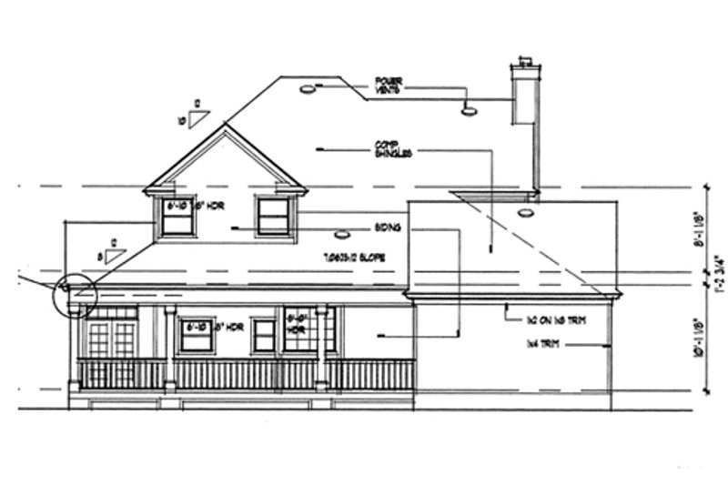 Country Exterior - Rear Elevation Plan #120-134 - Houseplans.com
