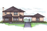 Prairie Style House Plan - 4 Beds 3.5 Baths 3284 Sq/Ft Plan #459-7 Exterior - Front Elevation