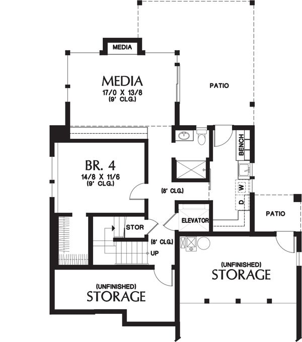 Contemporary Floor Plan - Lower Floor Plan #48-656