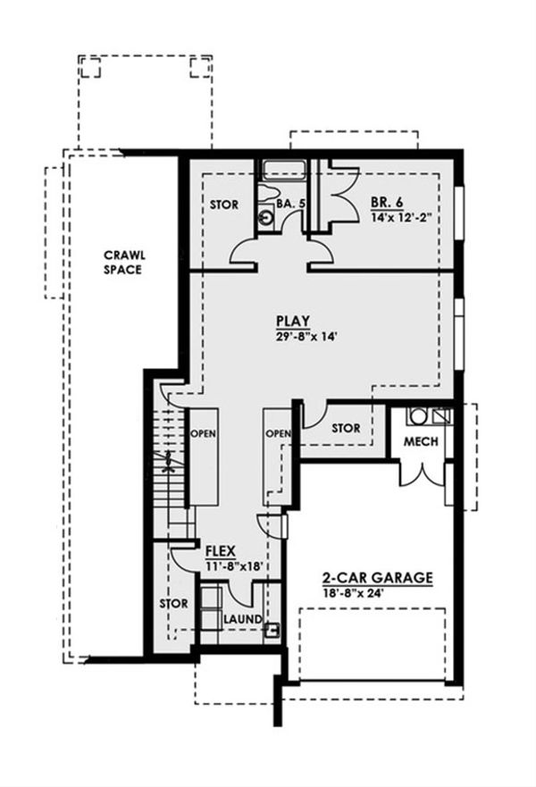 Contemporary Floor Plan - Lower Floor Plan Plan #1066-38