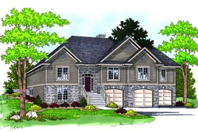 Craftsman Style House Plan - 4 Beds 3 Baths 2819 Sq/Ft Plan #70-453 Exterior - Front Elevation