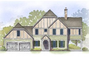 Tudor Exterior - Front Elevation Plan #901-98