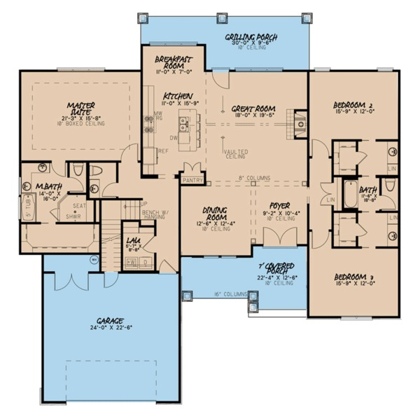 House Plan Design - Ranch Floor Plan - Main Floor Plan #923-89