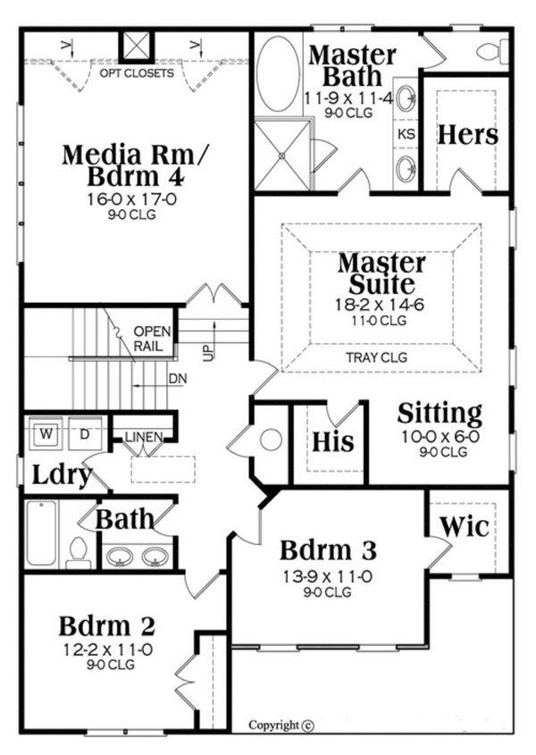 Country Floor Plan - Upper Floor Plan Plan #419-303