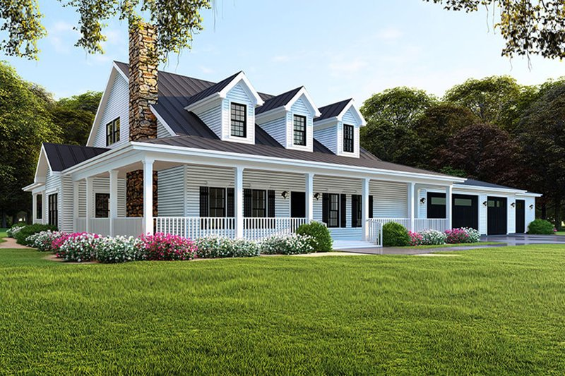 Farmhouse Style House Plan - 4 Beds 4 Baths 3416 Sq/Ft Plan #923-105 Exterior - Front Elevation