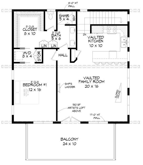 Contemporary Floor Plan - Upper Floor Plan #932-339