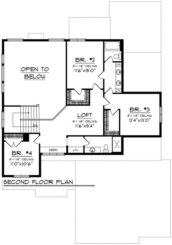 Modern Floor Plan - Upper Floor Plan Plan #70-1429