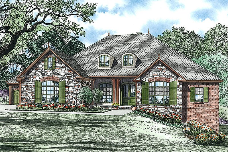 European Style House Plan - 4 Beds 3 Baths 3978 Sq/Ft Plan #17-2439 Exterior - Front Elevation