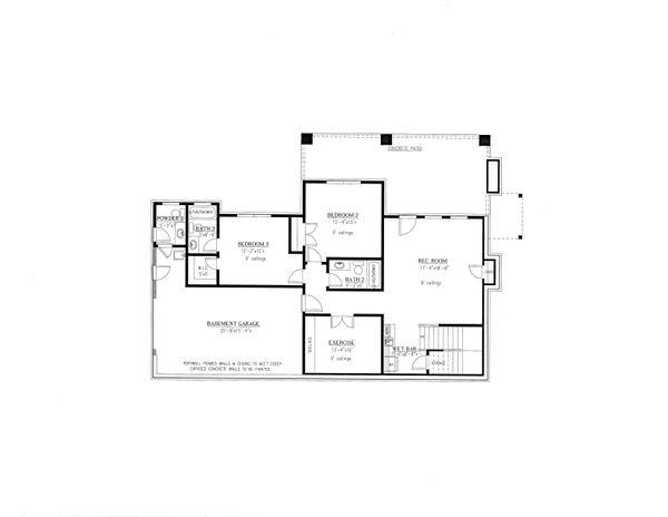 Craftsman Floor Plan - Lower Floor Plan #437-124