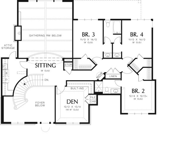 European Floor Plan - Upper Floor Plan Plan #48-618